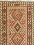 "Flat-weave Turkish Flat-weaves & Kilims  Traditional Kashkoli-FW Area rug  Beige, Dark Burgundy 3'5 x 6'6"" """