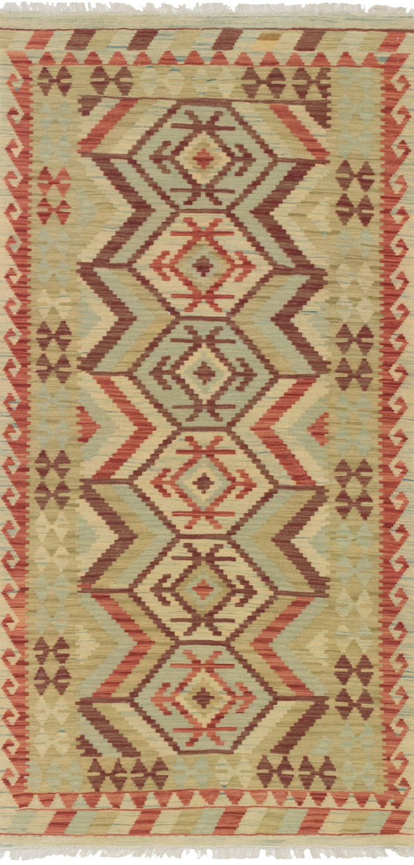 Flat-weave Turkish Flat-weaves & Kilims  Traditional Sivas Area rug  Beige, Dark Burgundy 3.3 x 6.9