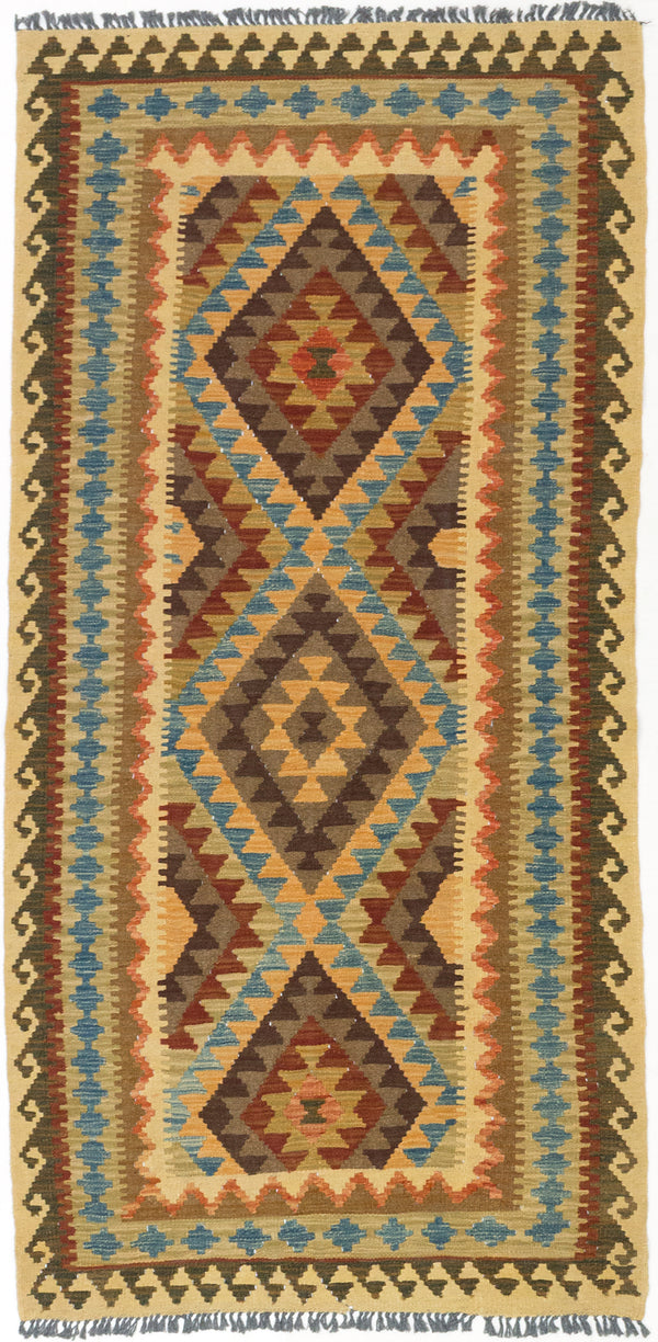 Flat-weave Turkish Flat-weaves & Kilims  Traditional Kashkoli-FW Area rug  Dark Orange, Light Orange 3.4 x 6.8
