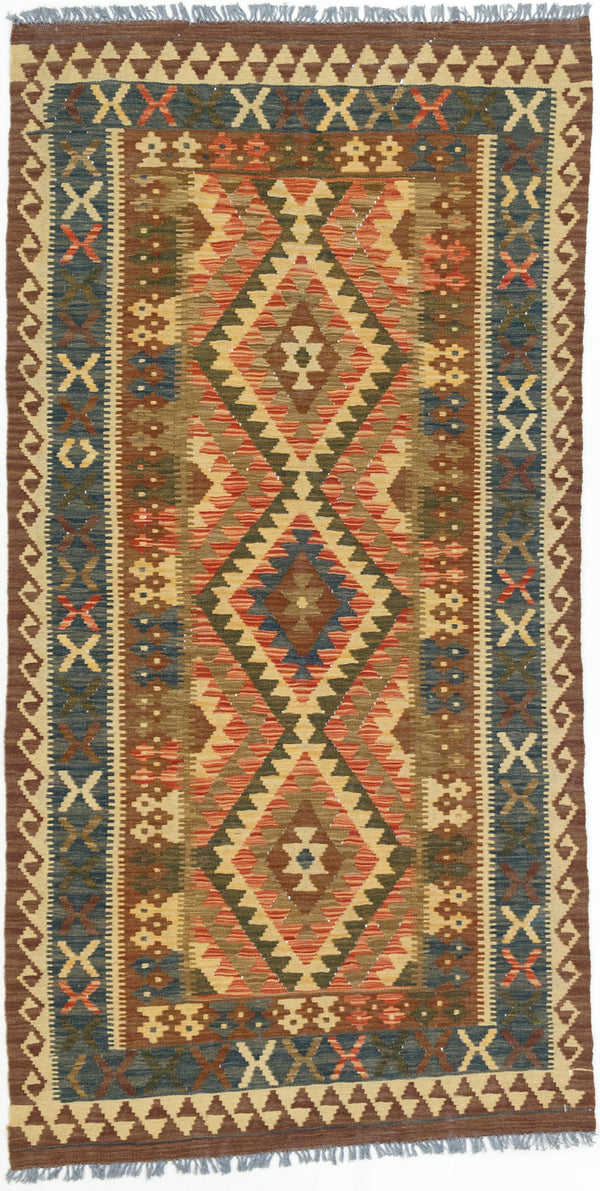 "Flat-weave Turkish Traditional Kashkoli-FW Area rug  Copper, Olive 3'4 x 6'5"" """