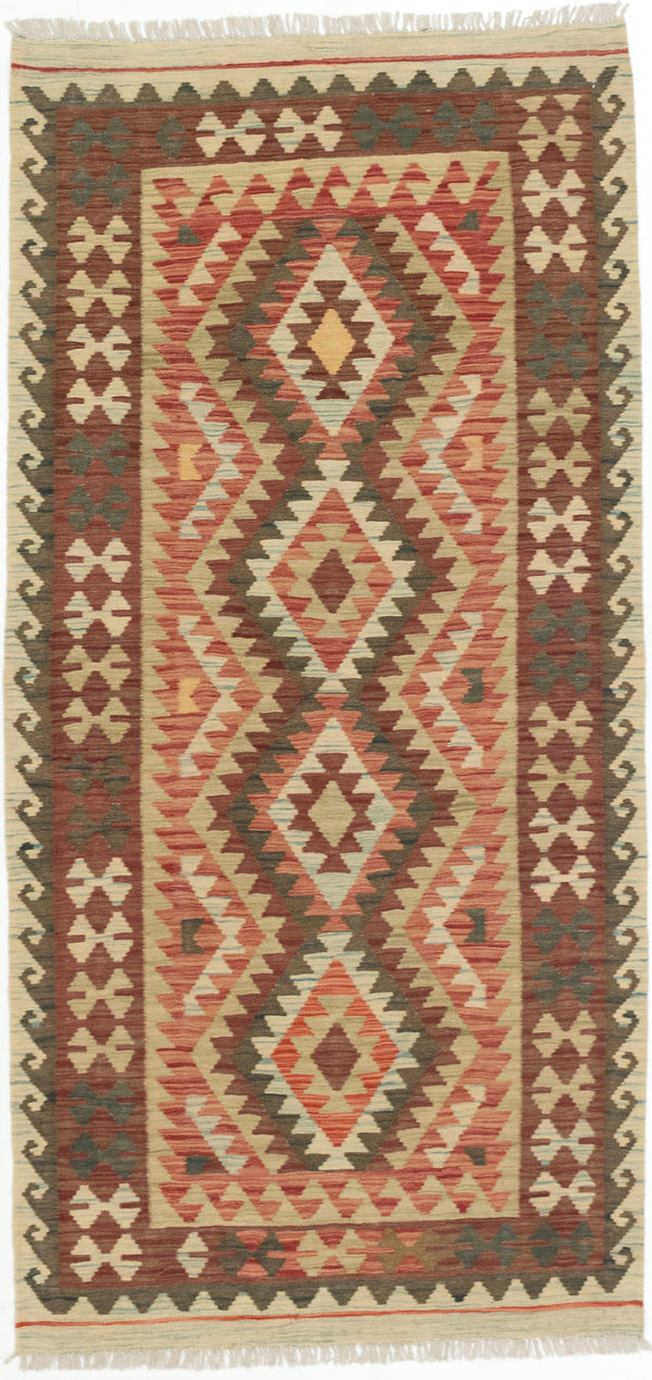 "Flat-weave Turkish Traditional Kashkoli-FW Area rug  Dark Burgundy 3'3 x 6'8"" """