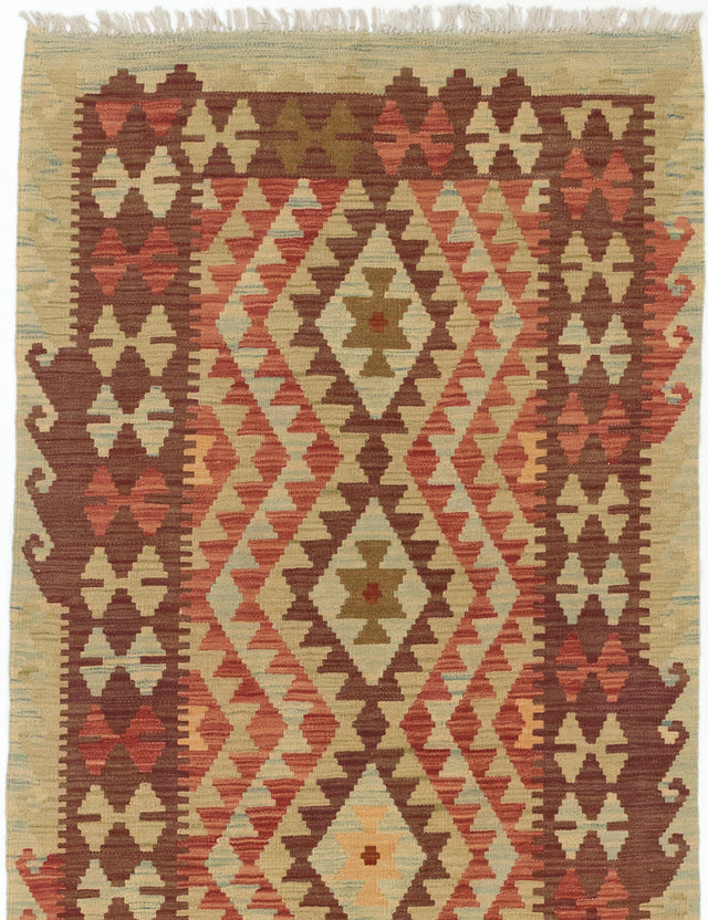 "Flat-weave Turkish Flat-weaves & Kilims  Traditional Kashkoli-FW Area rug  Dark Copper, Light Brown 3'3 x 6'6"" """