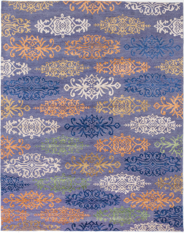 "Hand-knotted Indian Transitional La-Seda Area rug  Dark Gold, Orange, Purple 8'0 x 10'3"" """
