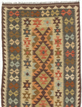 "Flat-weave Turkish Flat-weaves & Kilims  Traditional Kashkoli-FW Area rug  Copper, Cream 3'3 x 6'7"" """