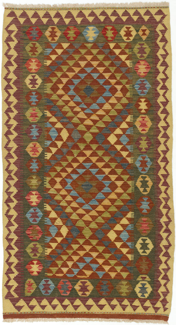 "Flat-weave Turkish Flat-weaves & Kilims  Traditional Anatolian-FW Area rug  Dark Orange 3'5 x 6'4"" """