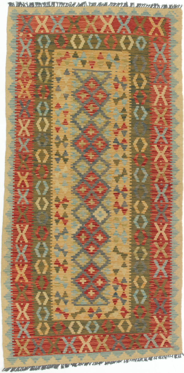 "Flat-weave Turkish Traditional Kashkoli-FW Area rug  Dark Burgundy, Light Orange 3'5 x 6'9"" """