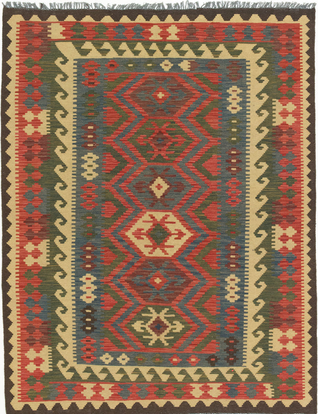 "Flat-weave Turkish Flat-weaves & Kilims  Traditional Sivas Area rug  Dark Burgundy, Navy Blue 5'1 x 6'8"" """