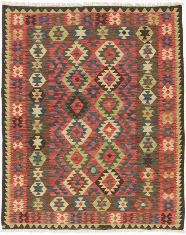 "Flat-weave Turkish Flat-weaves & Kilims  Traditional Kashkoli-FW Area rug  Dark Burgundy, Navy Blue 5'2 x 6'5"" """