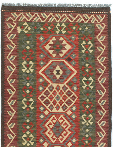 Flat-weave Turkish Flat-weaves & Kilims  Traditional Sivas Area rug  Dark Brown, Dark Burgundy 2.11 x 5.2