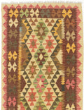 "Flat-weave Turkish Flat-weaves & Kilims  Traditional Kashkoli-FW Area rug  Dark Burgundy, Light Yellow 3'1 x 4'11"" """