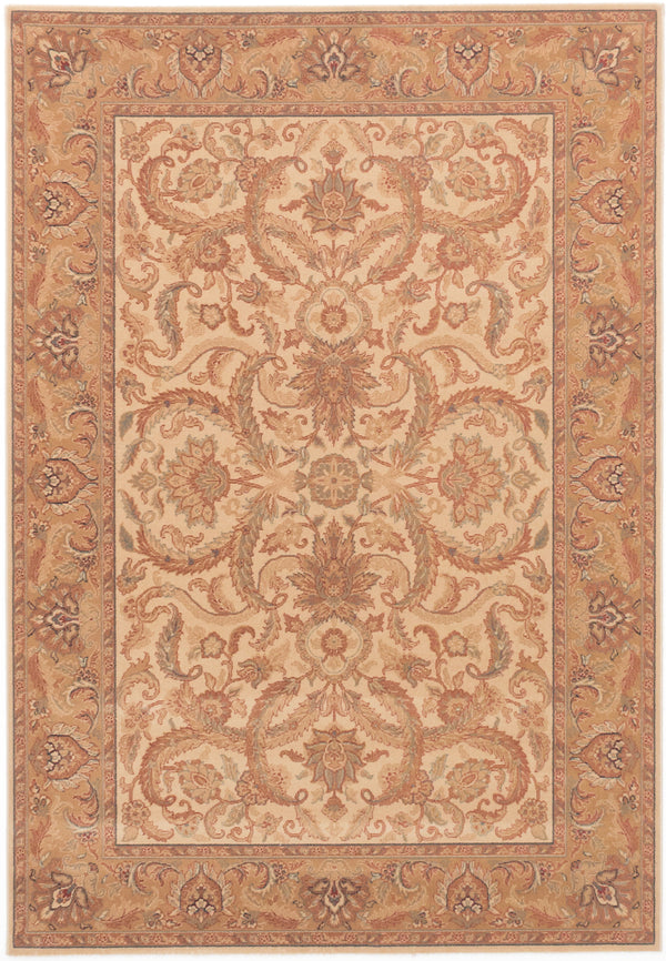 Machine Woven  Traditional Royale Area rug  Ivory, Light Brown 5.7 x 8.1