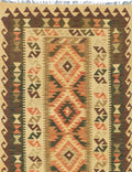 "Flat-weave Turkish Flat-weaves & Kilims  Traditional Kashkoli-FW Area rug  Dark Green, Light Gold 3'0 x 4'11"" """
