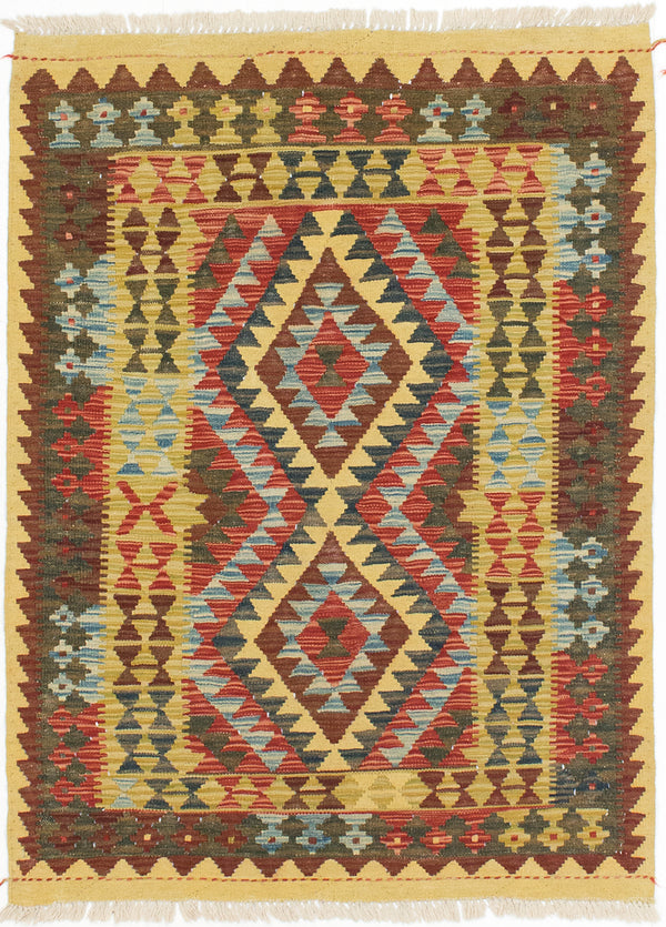 "Flat-weave Turkish Traditional Kashkoli-FW Area rug  Dark Burgundy, Light Gold 3'4 x 4'6"" """