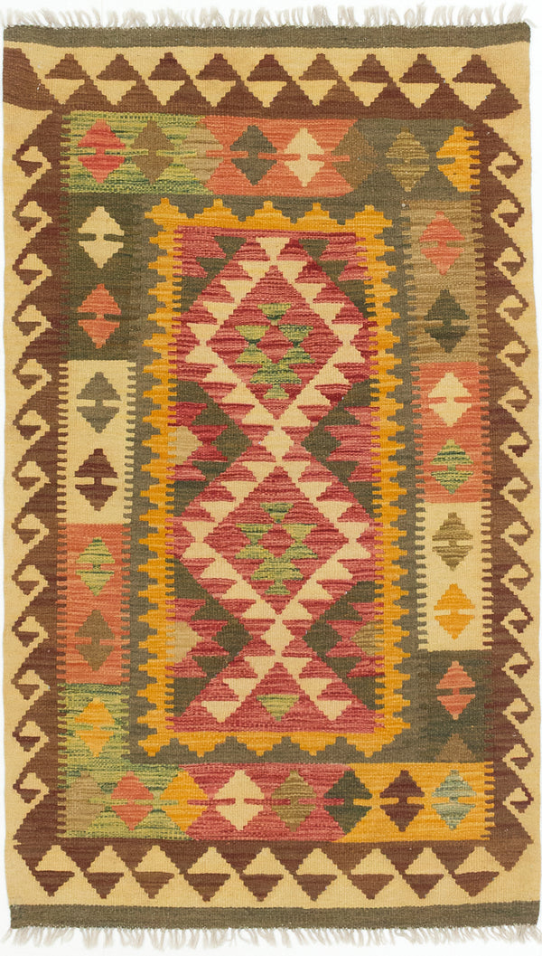 "Flat-weave Turkish Flat-weaves & Kilims  Traditional Kashkoli-FW Area rug  Dark Burgundy, Light Orange 3'0 x 5'3"" """