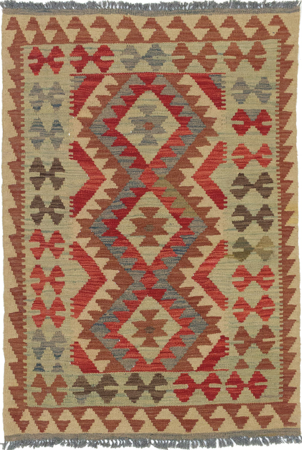 "Flat-weave Turkish Traditional Kashkoli-FW Area rug  Beige, Dark Burgundy 3'4 x 4'11"" """