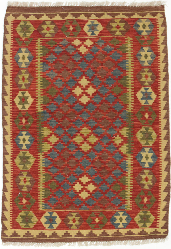 "Flat-weave Turkish Flat-weaves & Kilims  Traditional Kashkoli-FW Area rug  Dark Red, Turquoise 3'4 x 4'9"" """