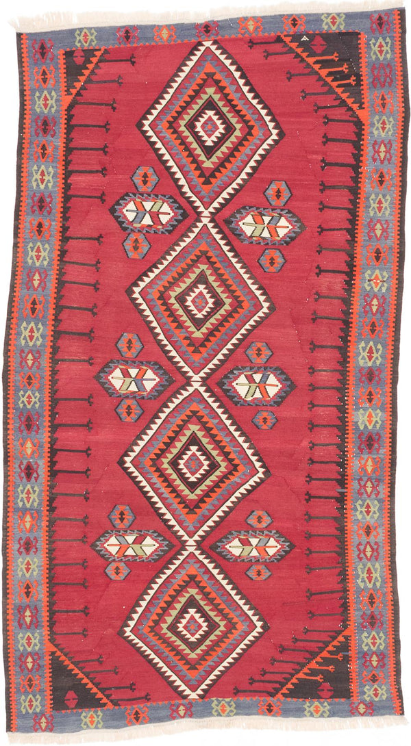 Flat-weave  Traditional Kashkuli Area rug  Dark Red 5.8 x 10.2