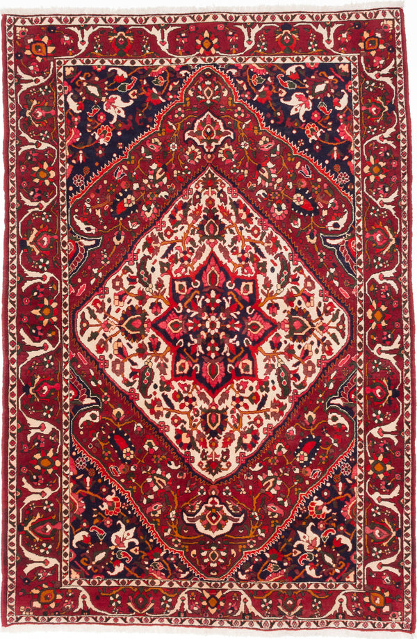 Hand-knotted  Traditional Bakhtiar Area rug  Dark Burgundy 6.8 x 10.2