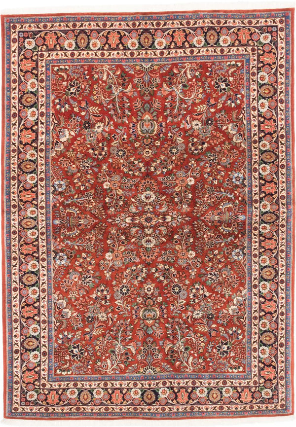 "Hand-knotted  Traditional Sarough-Finest Area rug  Dark Orange 5'11 x 8'2"" """