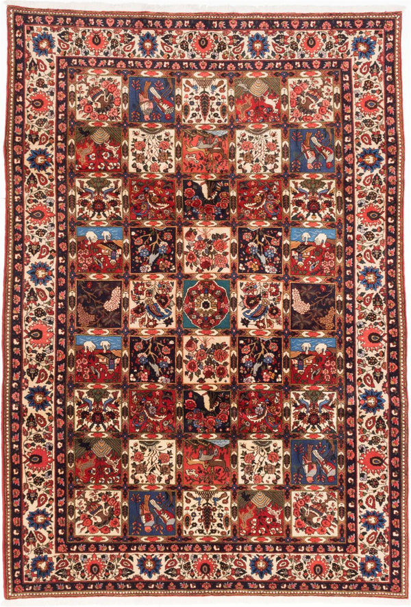 "Hand-knotted  Traditional Bakhtiar Area rug  Cream, Dark Burgundy 6'11 x 10'0"" """