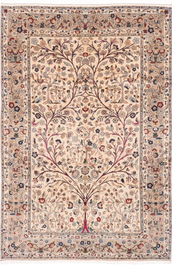 "Hand-knotted  Traditional Kashan Area rug  Cream 6'8 x 10'0"" """
