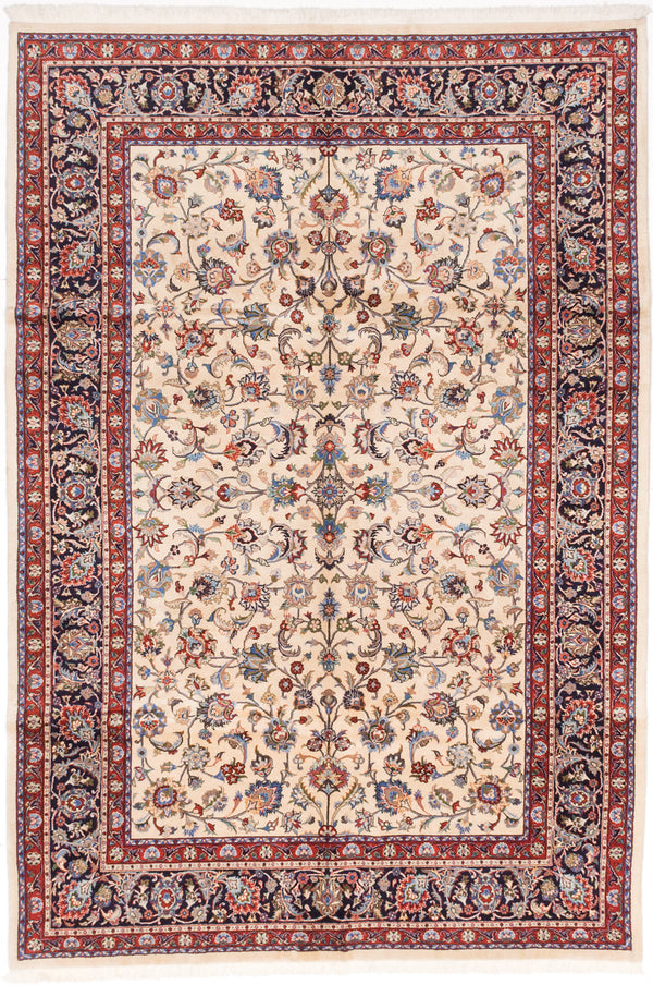 "Hand-knotted  Traditional Sarough-Finest Area rug  Cream 6'6 x 9'8"" """