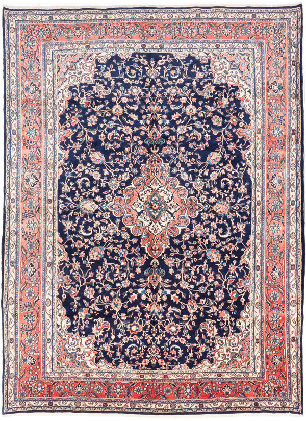 "Hand-knotted  Traditional Mahal Area rug  Dark Navy 8'8 x 11'11"" """