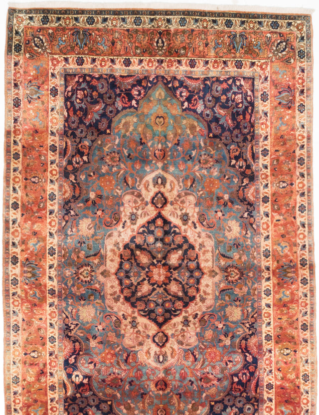 "Hand-knotted  Vintage Isfahan Area rug  Copper, Dark Navy 5'1 x 8'3"" """