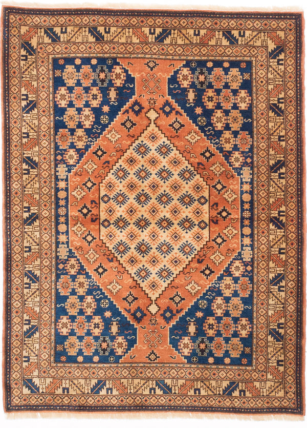 "Hand-knotted Afghan Traditional Finest-Kargahi Area rug  Copper, Navy Blue 3'11 x 5'3"" """