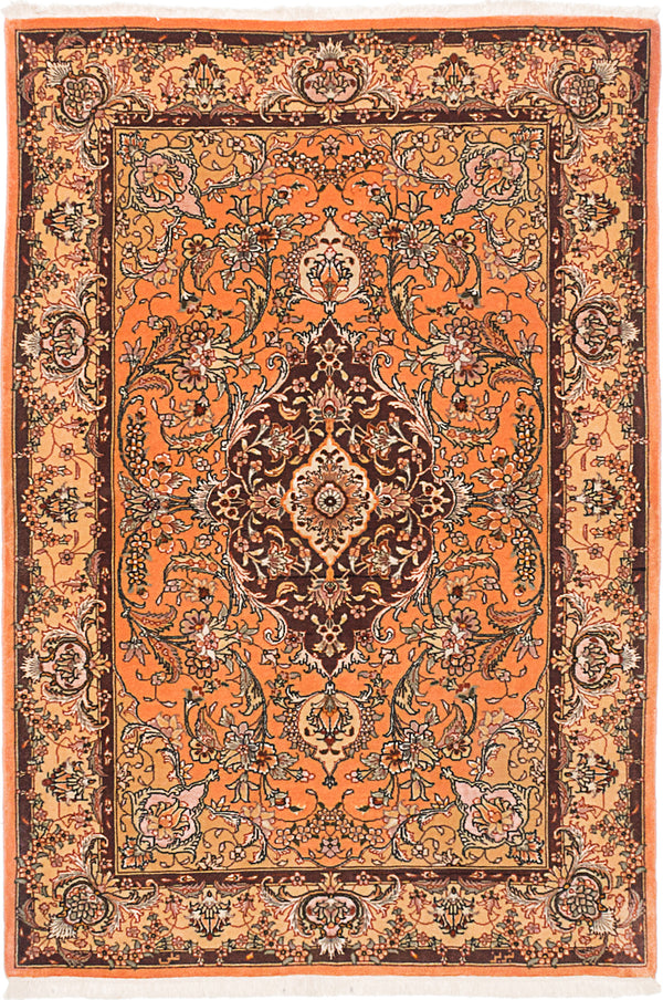 "Hand-knotted  Traditional Tabriz-50L Area rug  Coral 4'0 x 6'0"" """