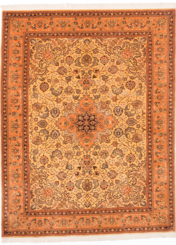 "Hand-knotted  Traditional Tabriz-50L Area rug  Light Yellow 5'0 x 6'5"" """