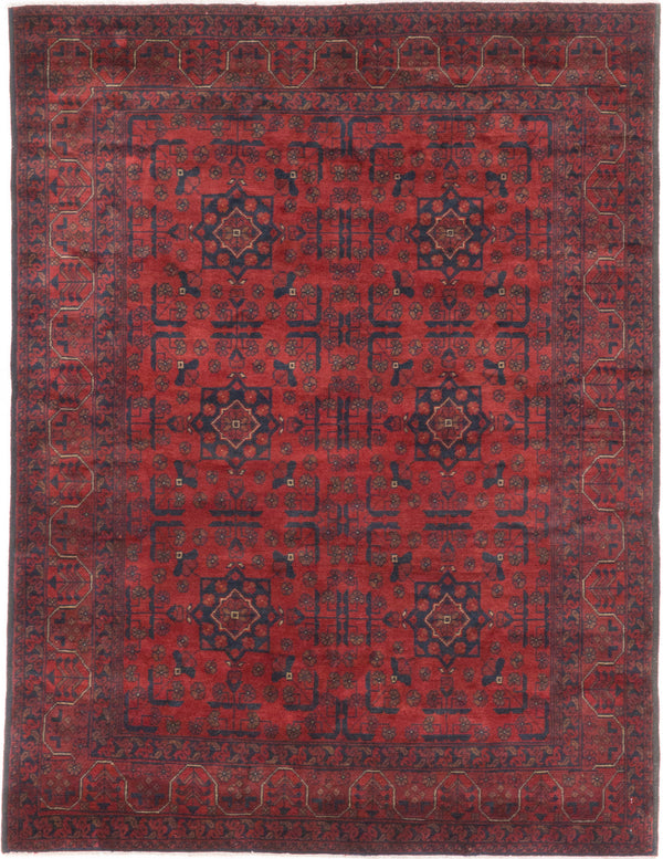 Hand-knotted Afghan Geometric  Tribal Finest-Khal-Mohammadi Area rug  Dark Red 5 x 6.6