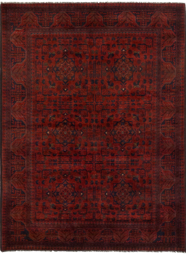 "Hand-knotted Afghan Geometric  Tribal Finest-Khal-Mohammadi Area rug  Dark Red 5'1 x 6'10"" """