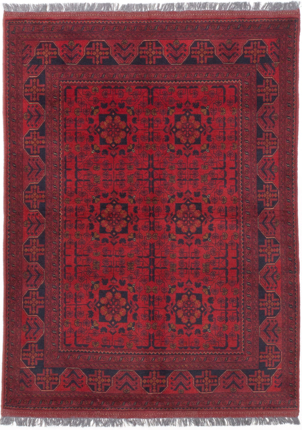 "Hand-knotted Afghan Traditional Finest-Khal-Mohammadi Area rug  Dark Burgundy 5'0 x 6'9"" """