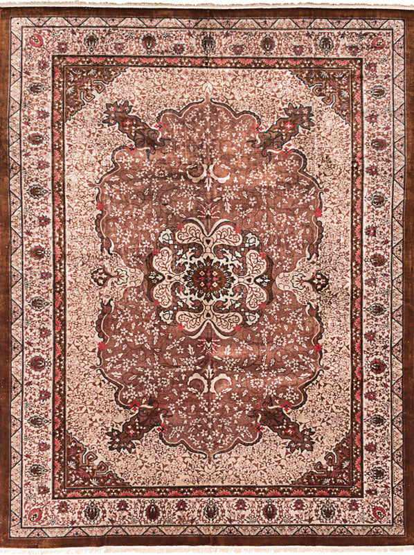 "Hand-knotted Chinese Traditional Aubousson-Harrir Area rug  Brown 8'8 x 11'6"" """