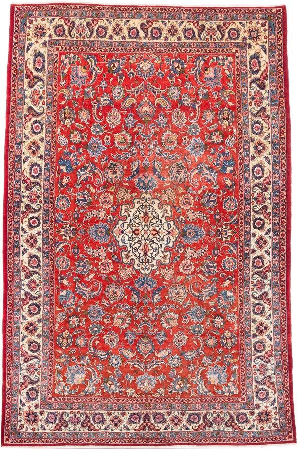"Hand-knotted  Traditional Isfahan Area rug  Dark Copper 8'8 x 13'2"" """