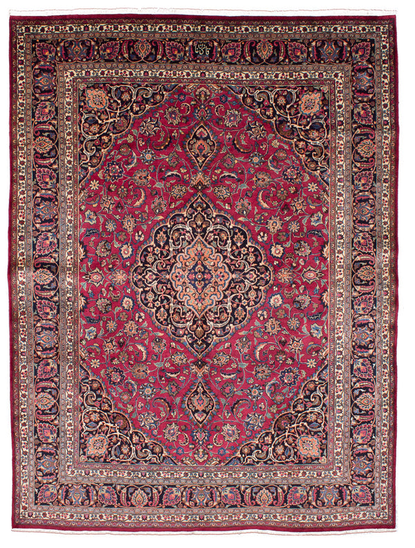"Hand-knotted  Vintage Mashad Area rug  Dark Red 9'11 x 12'8"" """