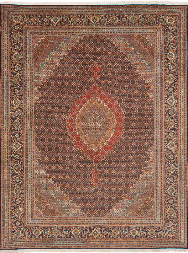 "Hand-knotted  Traditional Tabriz-50L Area rug  Dark Navy 9'9 x 12'10"" """