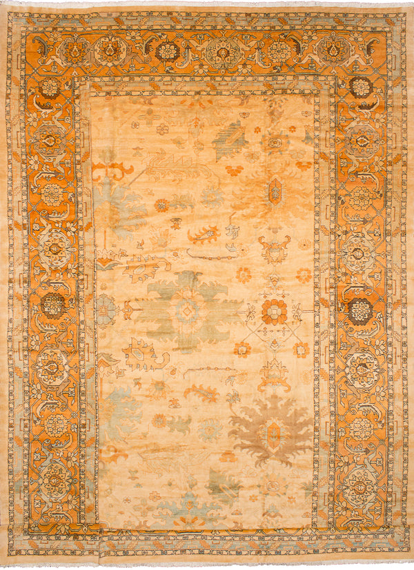Hand-knotted  Traditional Mehriban Area rug  Ivory 18.6 x 19.9