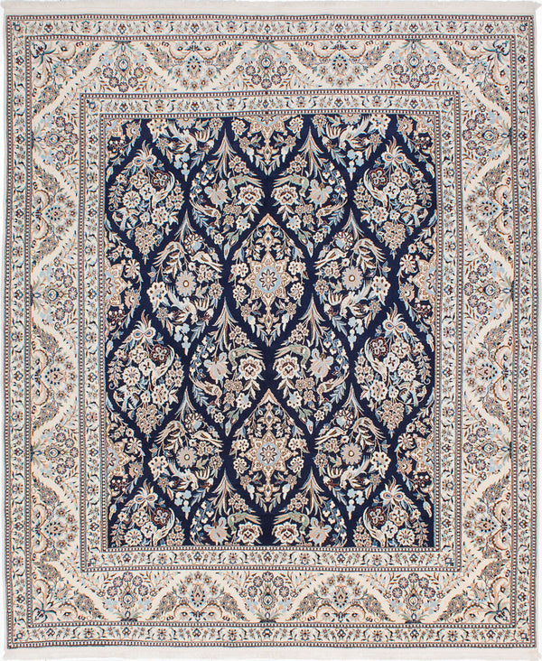 "Hand-knotted  Traditional Nain-6La Area rug  Cream, Dark Navy 8'3 x 9'11"" """