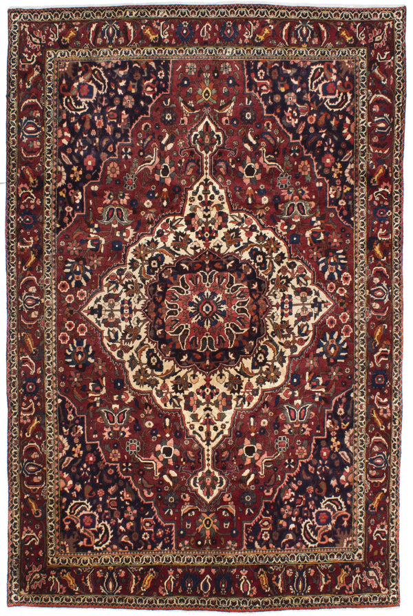 "Hand-knotted  Traditional Bakhtiar Area rug  Dark Red 6'9 x 10'2"" """