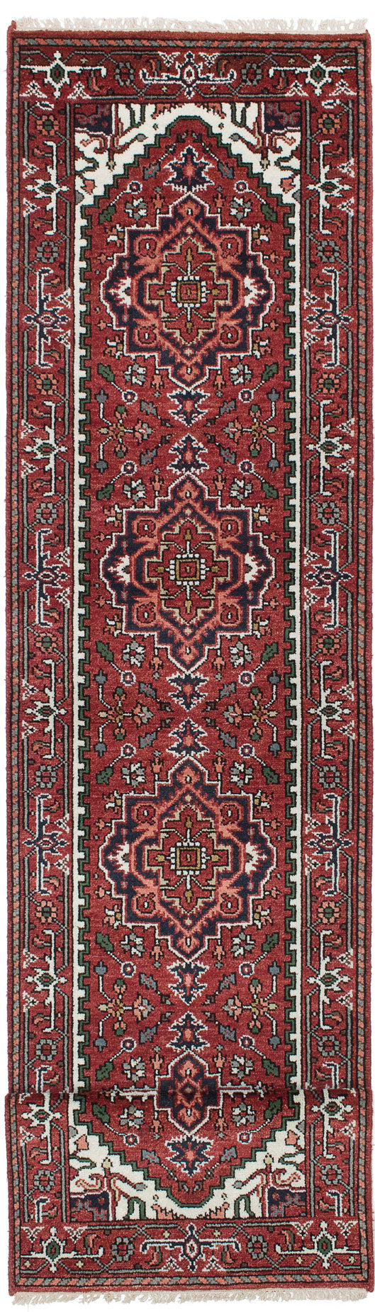 "Hand-knotted Indian Traditional Serapi-Heritage Runner rug  Dark Burgundy 2'7 x 11'11"" """