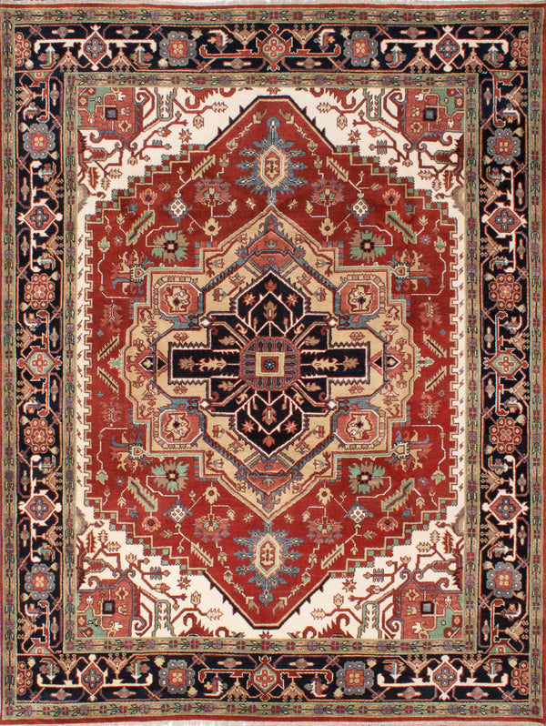 "Hand-knotted Indian Traditional Serapi-Heritage Area rug  Dark Copper 9'1 x 11'11"" """