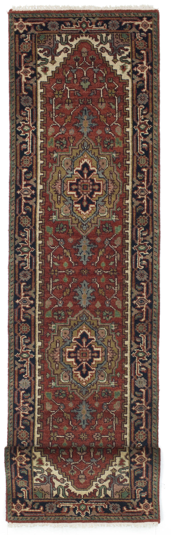 "Hand-knotted Indian Floral  Traditional Serapi-Heritage Runner rug  Dark Orange 2'7 x 12'1"" """
