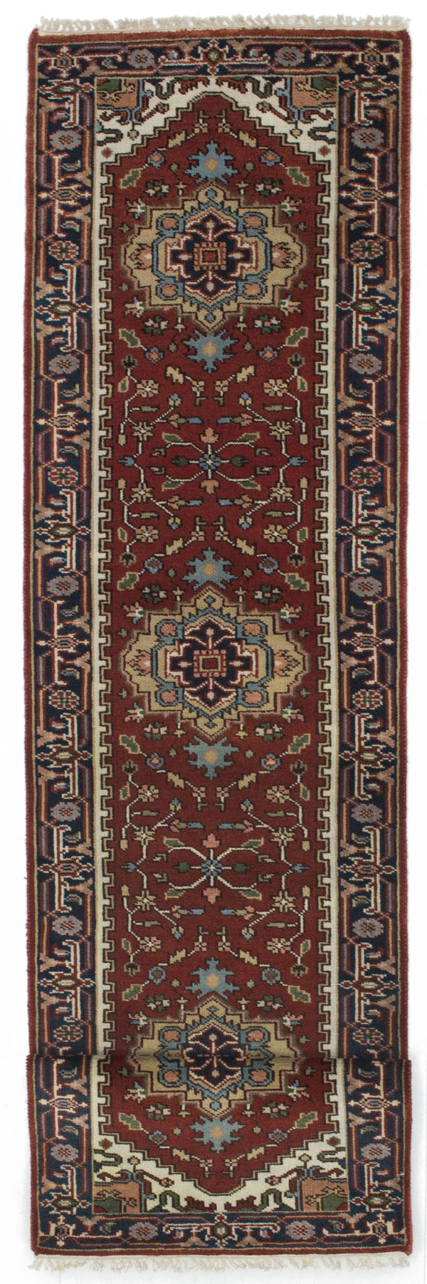 "Hand-knotted Indian Floral  Traditional Serapi-Heritage Runner rug  Dark Orange 2'8 x 11'11"" """