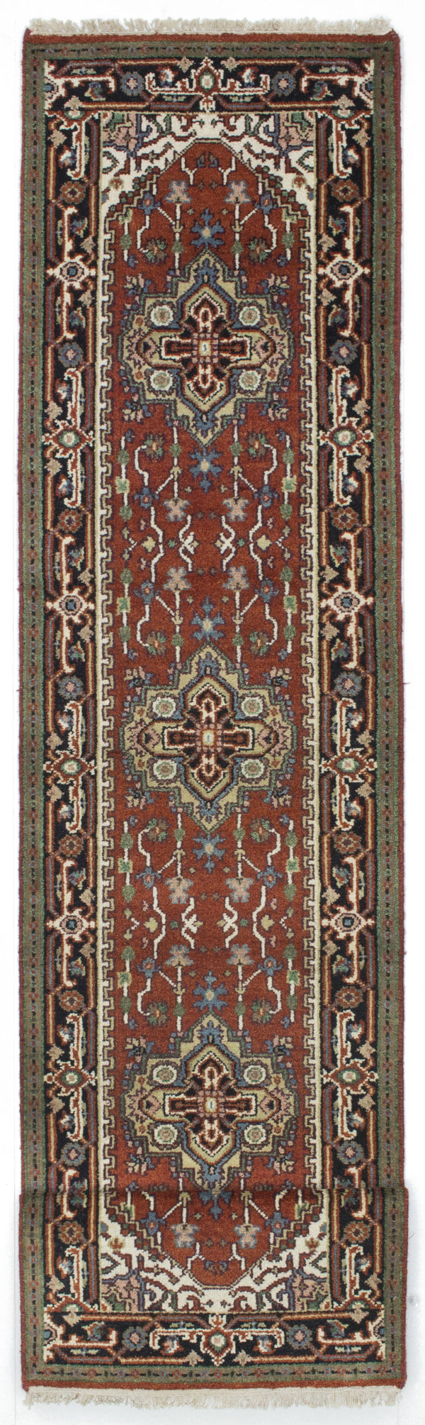 "Hand-knotted Indian Floral  Traditional Serapi-Heritage Runner rug  Dark Orange 2'6 x 11'11"" """