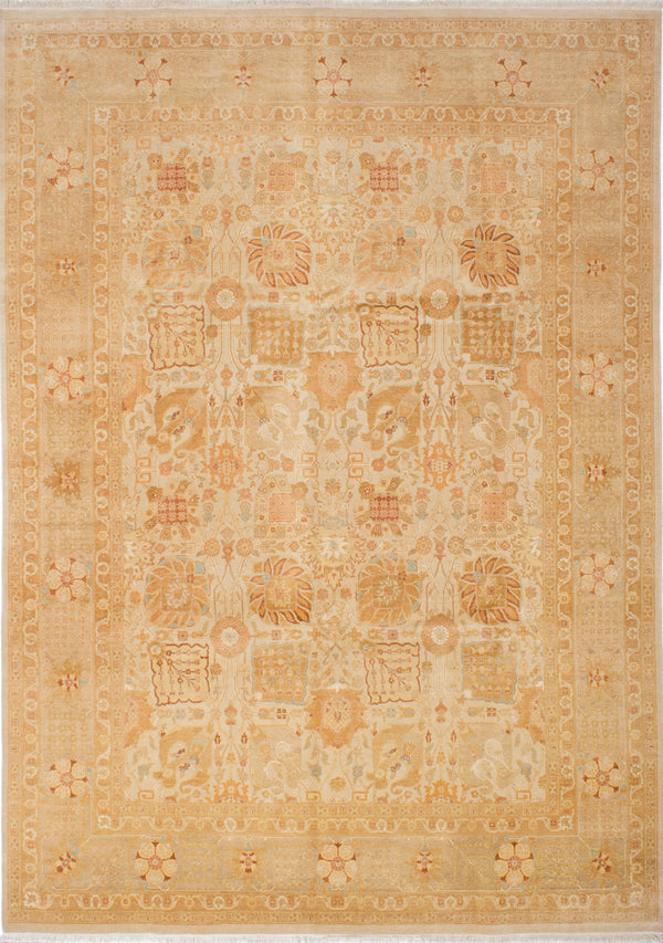 "Hand-knotted Pakistani Traditional Pako-Persian-18/20 Area rug  Cream 8'10 x 12'4"" """