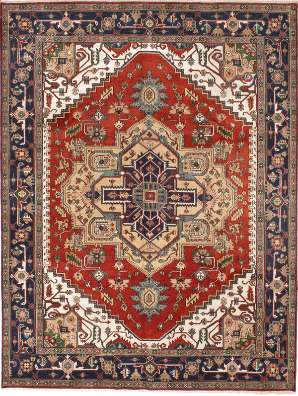 "Hand-knotted Indian Traditional Serapi-Heritage Area rug  Dark Orange 9'0 x 11'11"" """