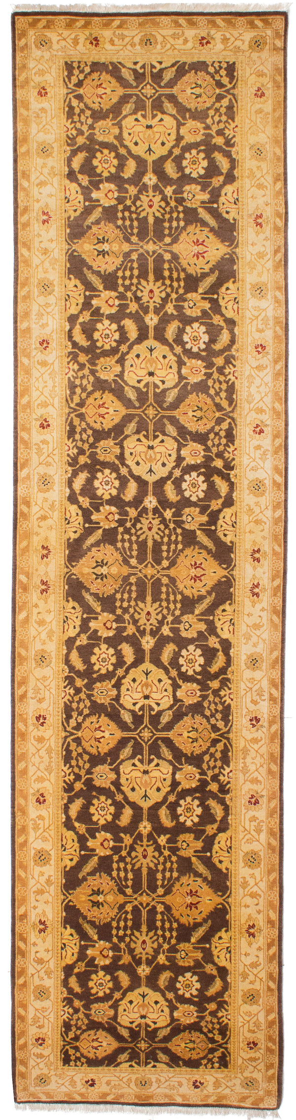 "Hand-knotted Pakistani Traditional Pako-Persian-18/20 Runner rug  Dark Brown 3'2 x 12'5"" """