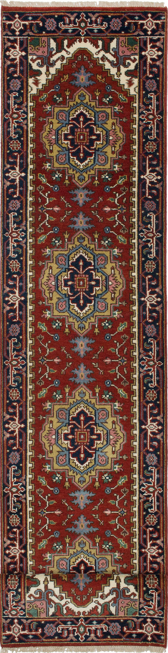 "Hand-knotted Indian Floral  Traditional Serapi-Heritage Runner rug  Dark Orange 2'6 x 15'11"" """